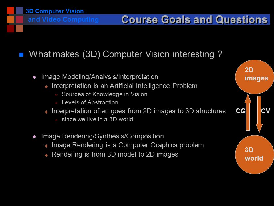 3D Computer Vision and Video Computing Course Goals and Questions n What makes (3D) Computer Vision interesting .
