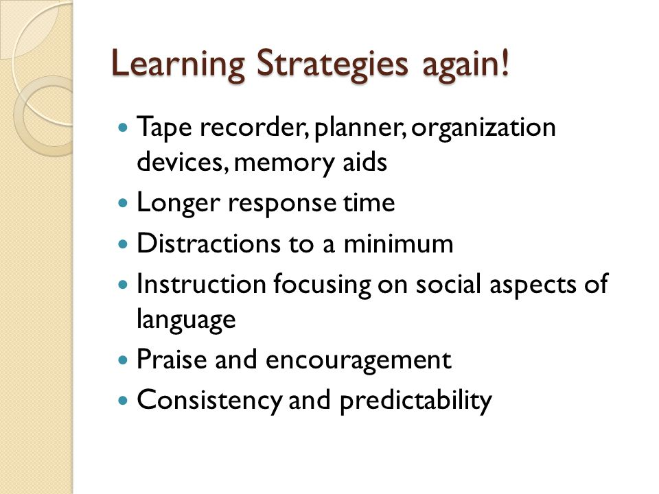 Learning Strategies again.