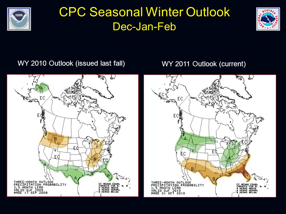 CPC Seasonal Winter Outlook Dec-Jan-Feb WY 2010 Outlook (issued last fall) WY 2011 Outlook (current)