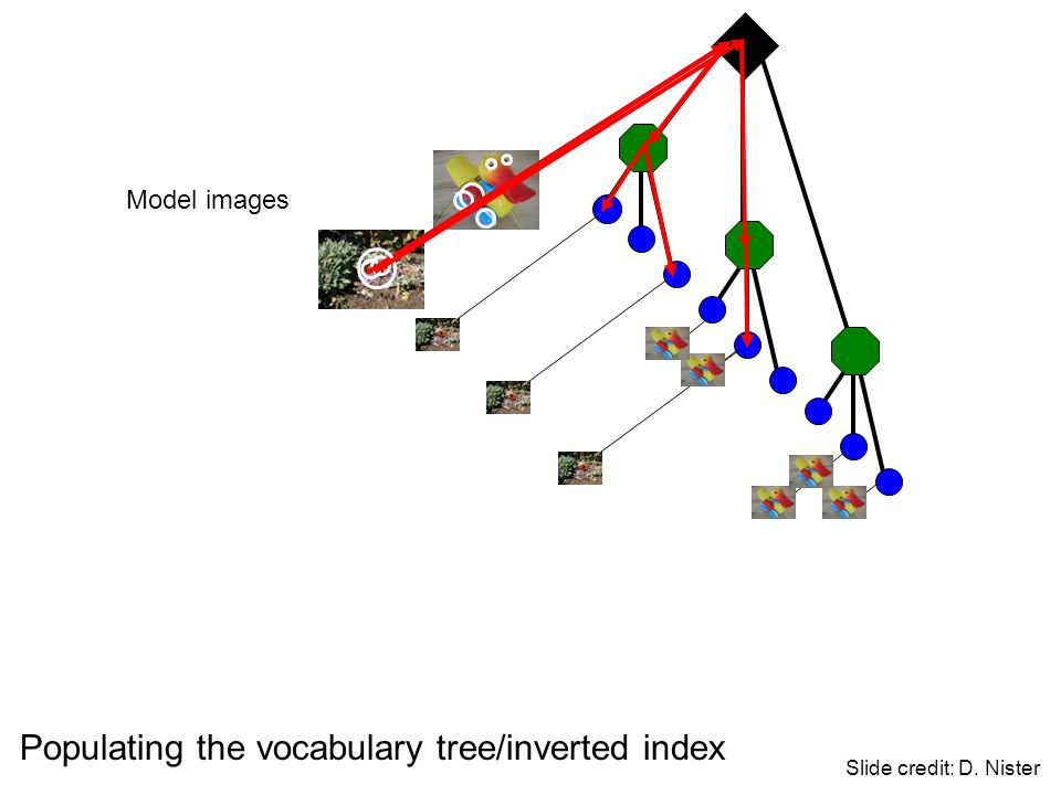 Populating the vocabulary tree/inverted index Slide credit: D. Nister Model images