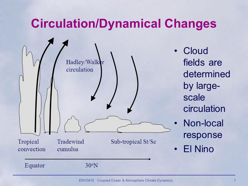 ENVI3410 : Coupled Ocean & Atmosphere Climate Dynamics1 Circulation/Dynamical Changes Tropical convection Tradewind cumulus Sub-tropical St/Sc Hadley/Walker circulation Equator30 o N Cloud fields are determined by large- scale circulation Non-local response El Nino