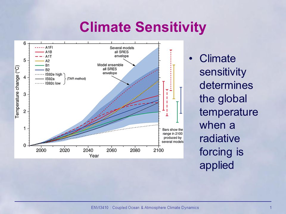 ENVI3410 : Coupled Ocean & Atmosphere Climate Dynamics1 Climate Sensitivity Climate sensitivity determines the global temperature when a radiative forcing is applied
