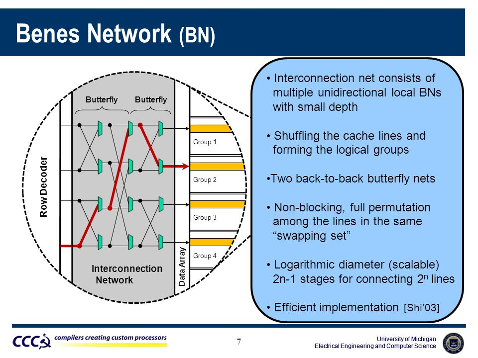 University of Michigan Electrical Engineering and Computer Science University of Michigan Electrical Engineering and Computer Science University of Michigan Electrical Engineering and Computer Science Benes Network (BN) Group 1 Data Array Row Decoder Group 2 Group 3 Group 4 Row Decoder Interconnection Network Data Array Butterfly Interconnection Network 7 Interconnection net consists of multiple unidirectional local BNs with small depth Shuffling the cache lines and forming the logical groups Two back-to-back butterfly nets Non-blocking, full permutation among the lines in the same swapping set Logarithmic diameter (scalable) 2n-1 stages for connecting 2 n lines Efficient implementation [Shi'03]