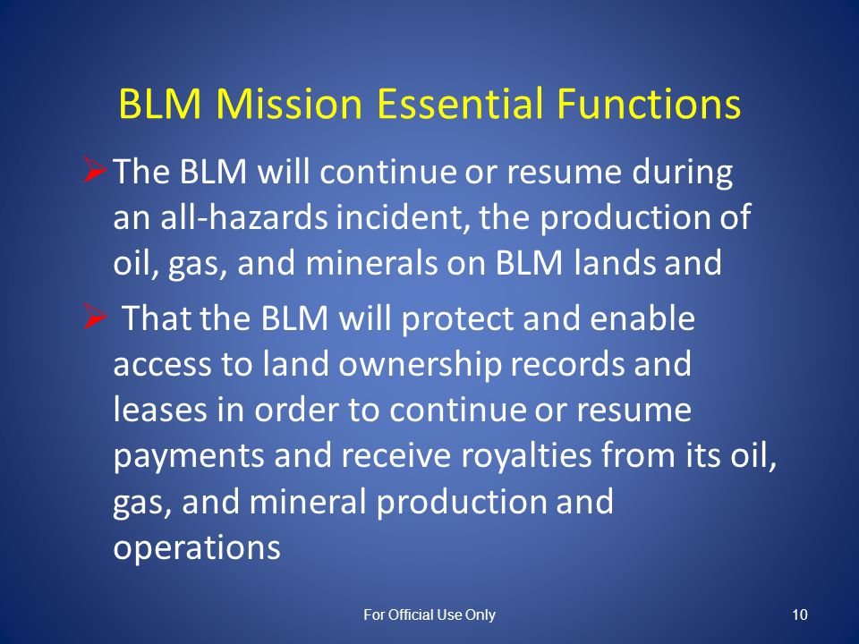 A BLM Manager\'s Responsibilities for Continuity of Operations Plans ...