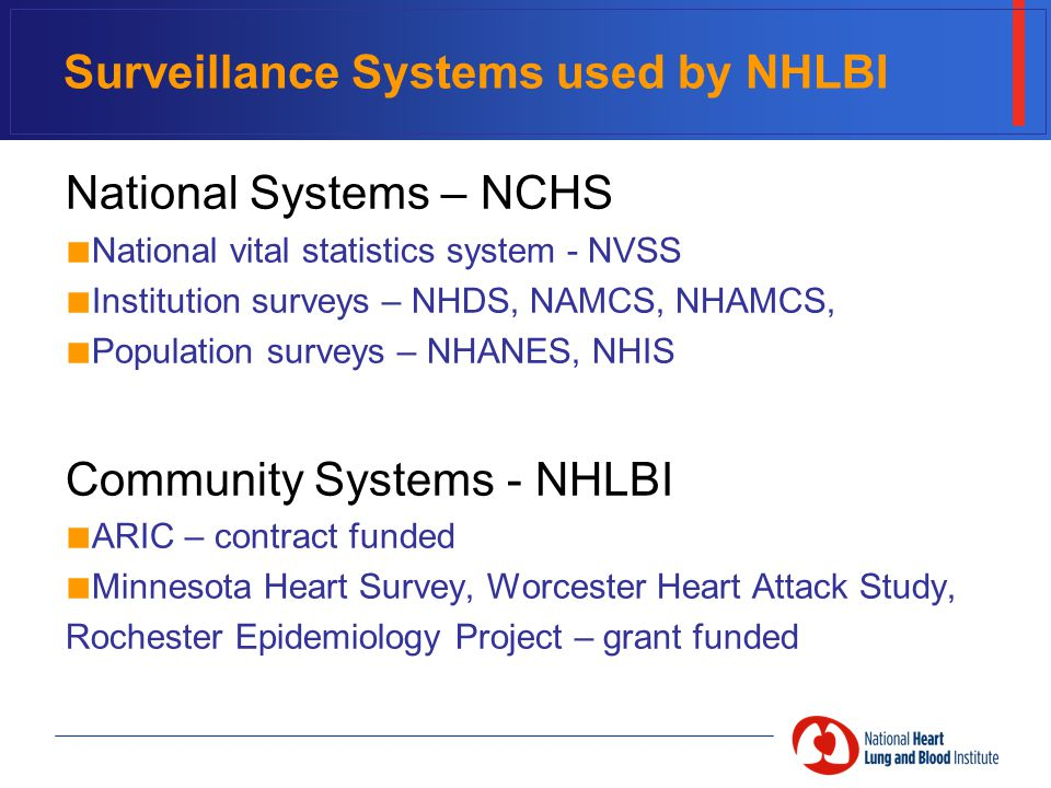 Surveillance Systems used by NHLBI National Systems – NCHS ■ National vital statistics system - NVSS ■ Institution surveys – NHDS, NAMCS, NHAMCS, ■ Population surveys – NHANES, NHIS Community Systems - NHLBI ■ ARIC – contract funded ■ Minnesota Heart Survey, Worcester Heart Attack Study, Rochester Epidemiology Project – grant funded