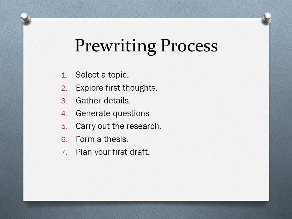 Prewriting Process 1. Select a topic. 2. Explore first thoughts.