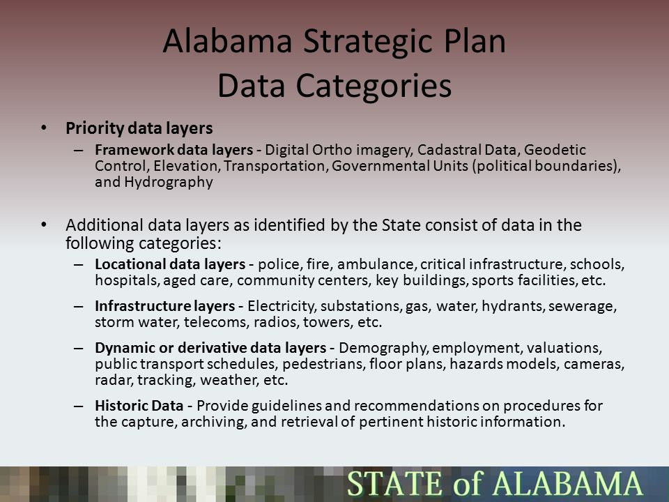 Alabama Strategic Plan Data Categories Priority data layers – Framework data layers - Digital Ortho imagery, Cadastral Data, Geodetic Control, Elevation, Transportation, Governmental Units (political boundaries), and Hydrography Additional data layers as identified by the State consist of data in the following categories: – Locational data layers - police, fire, ambulance, critical infrastructure, schools, hospitals, aged care, community centers, key buildings, sports facilities, etc.