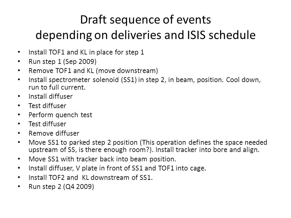 Draft sequence of events depending on deliveries and ISIS schedule Install TOF1 and KL in place for step 1 Run step 1 (Sep 2009) Remove TOF1 and KL (move downstream) Install spectrometer solenoid (SS1) in step 2, in beam, position.