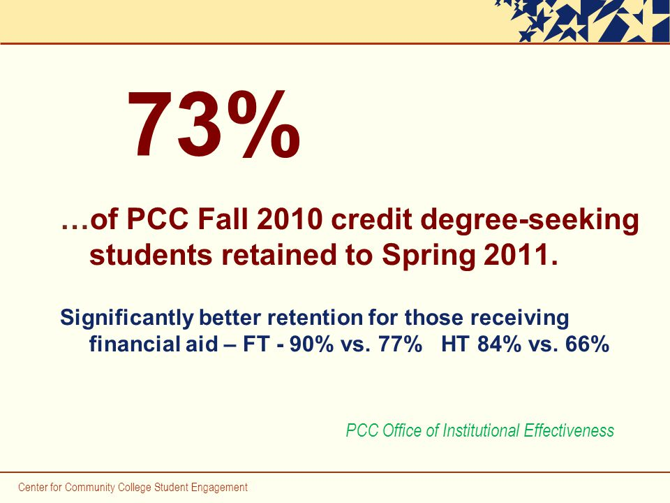 Center for Community College Student Engagement …of PCC Fall 2010 credit degree-seeking students retained to Spring 2011.