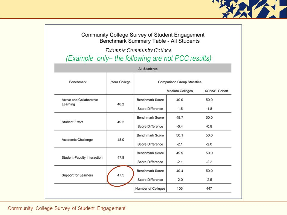 Community College Survey of Student Engagement Example Community College (Example only– the following are not PCC results)
