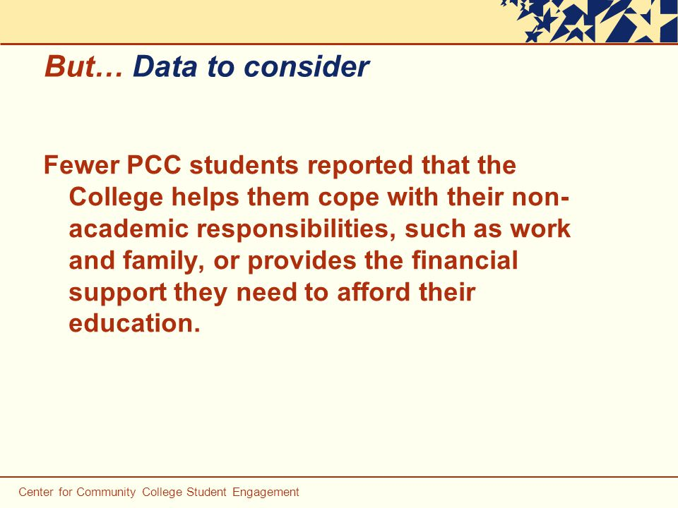 But… Data to consider Fewer PCC students reported that the College helps them cope with their non- academic responsibilities, such as work and family, or provides the financial support they need to afford their education.