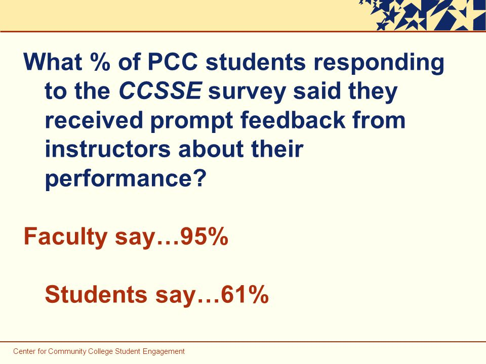 Center for Community College Student Engagement What % of PCC students responding to the CCSSE survey said they received prompt feedback from instructors about their performance.