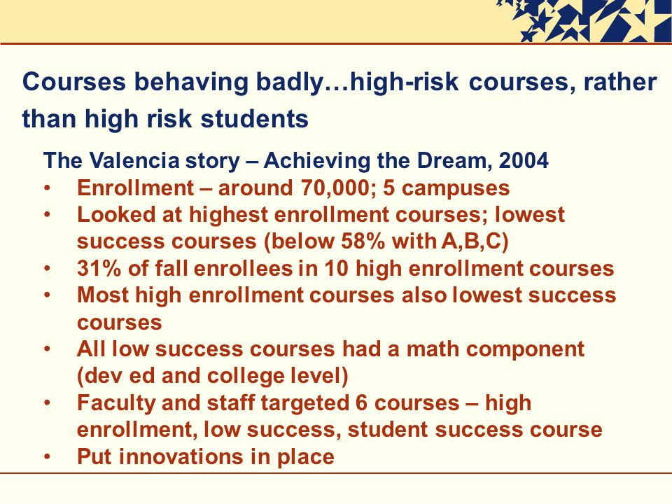 The Valencia story – Achieving the Dream, 2004 Enrollment – around 70,000; 5 campuses Looked at highest enrollment courses; lowest success courses (below 58% with A,B,C) 31% of fall enrollees in 10 high enrollment courses Most high enrollment courses also lowest success courses All low success courses had a math component (dev ed and college level) Faculty and staff targeted 6 courses – high enrollment, low success, student success course Put innovations in place Courses behaving badly…high-risk courses, rather than high risk students
