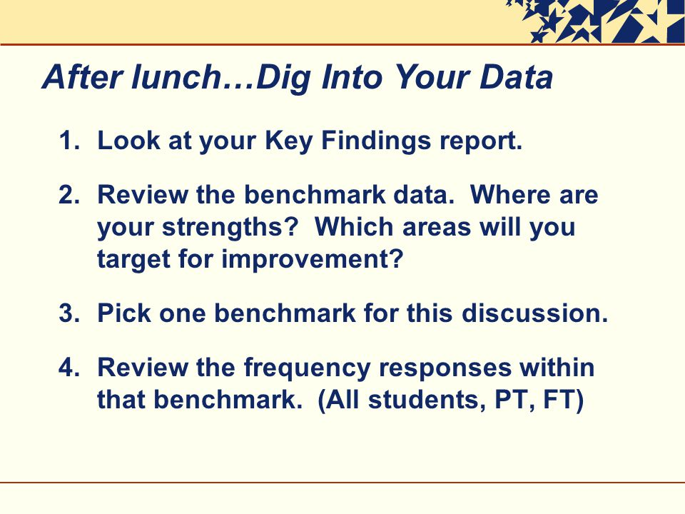 1.Look at your Key Findings report. 2.Review the benchmark data.