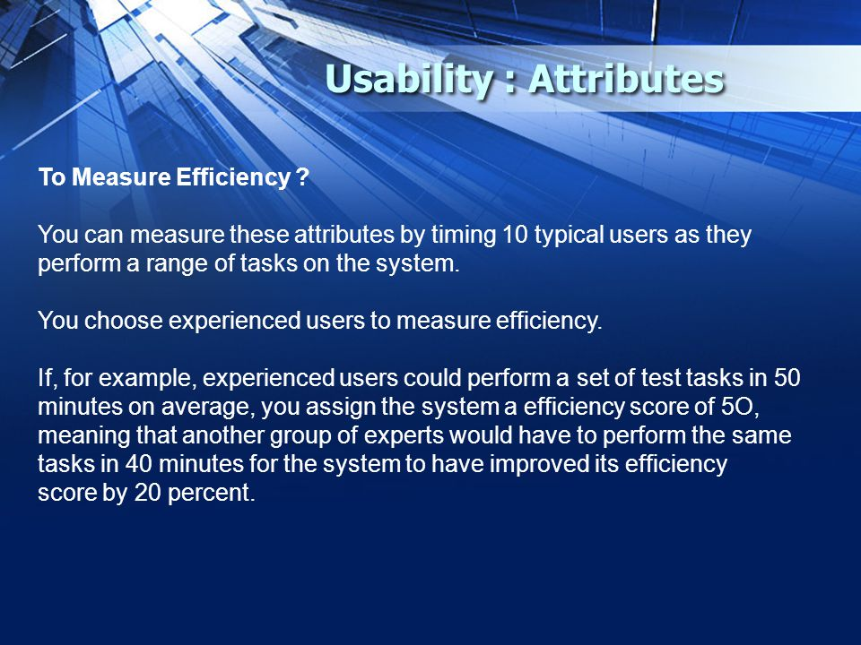 Usability : Attributes To Measure Efficiency .