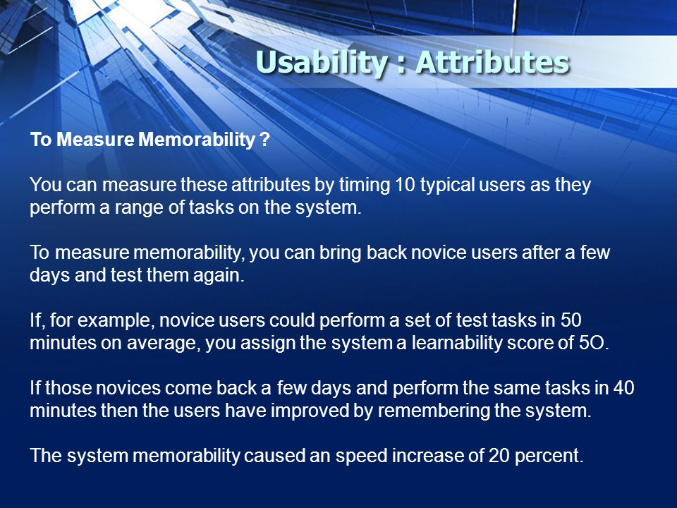 Usability : Attributes To Measure Memorability .