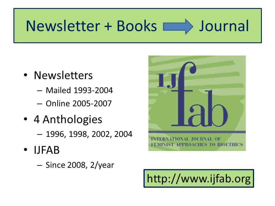Newsletter + Books Journal Newsletters – Mailed – Online Anthologies – 1996, 1998, 2002, 2004 IJFAB – Since 2008, 2/year