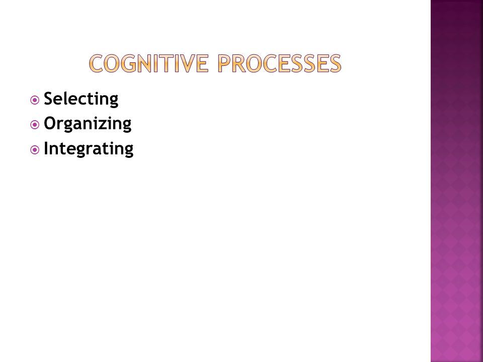  Selecting  Organizing  Integrating