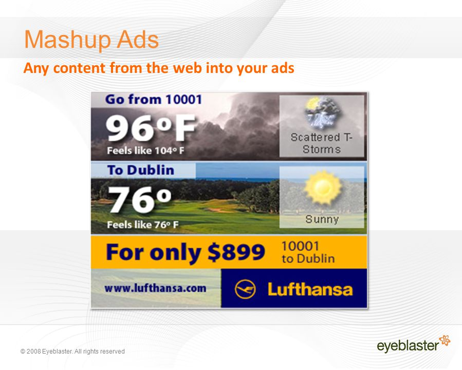 © 2008 Eyeblaster. All rights reserved Mashup Ads Any content from the web into your ads
