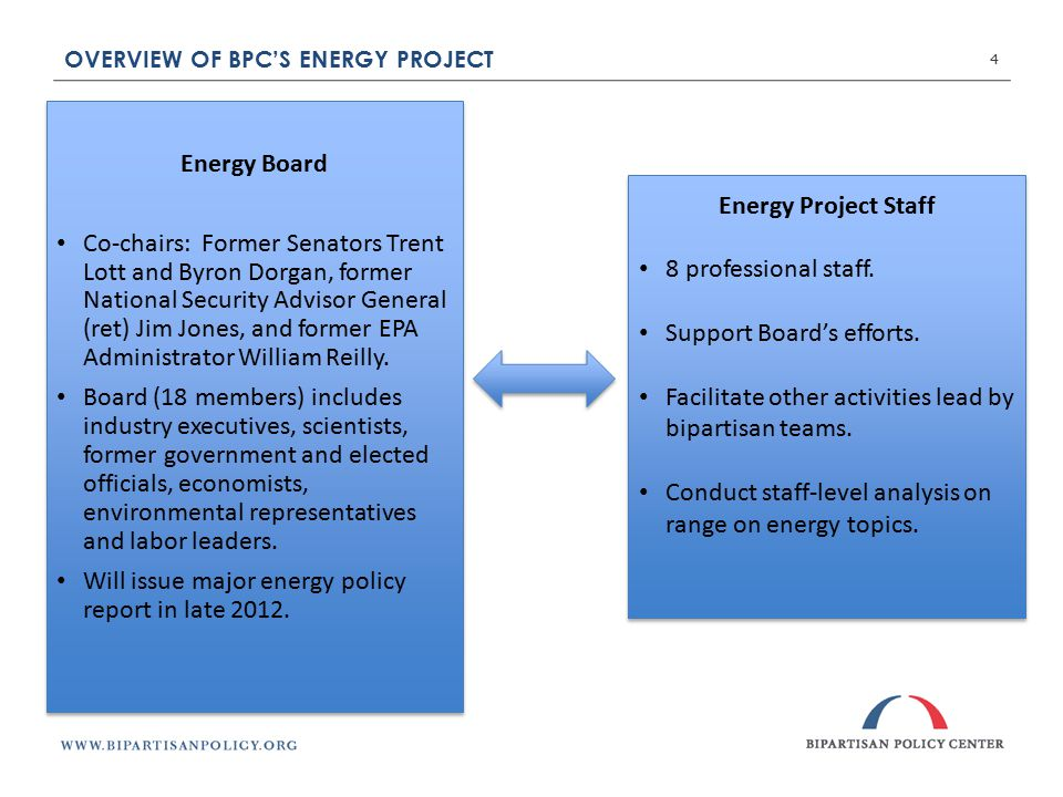 OVERVIEW OF BPC'S ENERGY PROJECT 4 Energy Board Co-chairs: Former Senators Trent Lott and Byron Dorgan, former National Security Advisor General (ret) Jim Jones, and former EPA Administrator William Reilly.