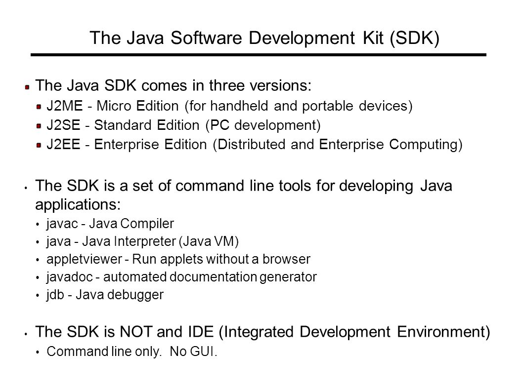 Introduction to java the objectives of this chapter are to describe the java sdk comes in three versions j2me micro edition for handheld and baditri Gallery
