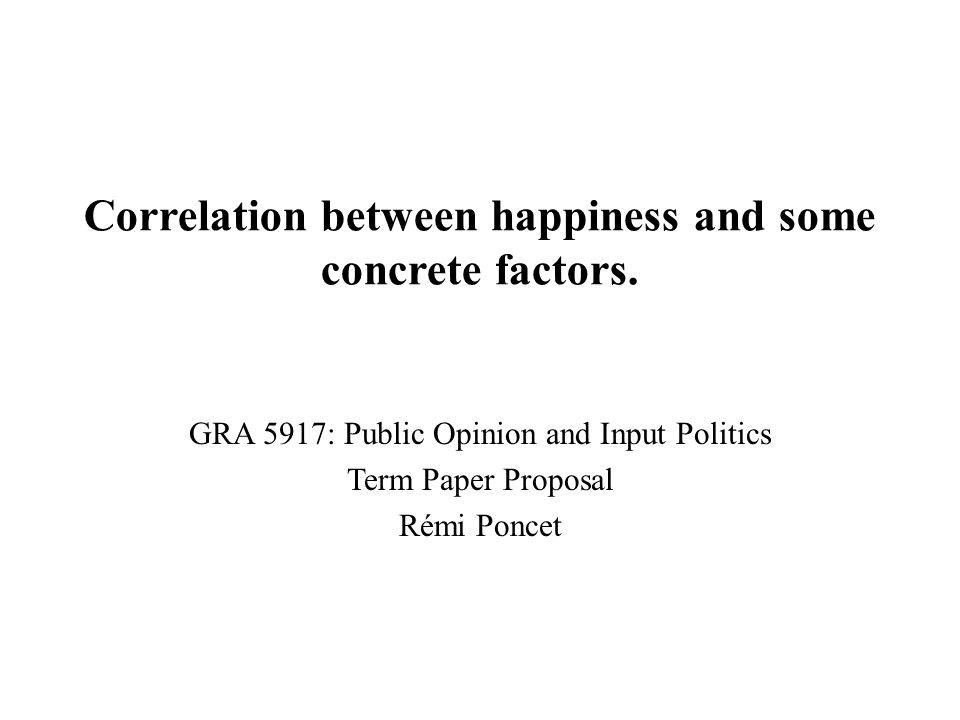 Correlation between happiness and some concrete factors.