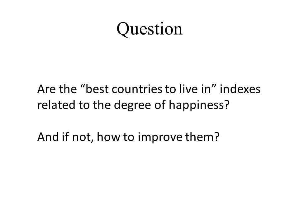Are the best countries to live in indexes related to the degree of happiness.