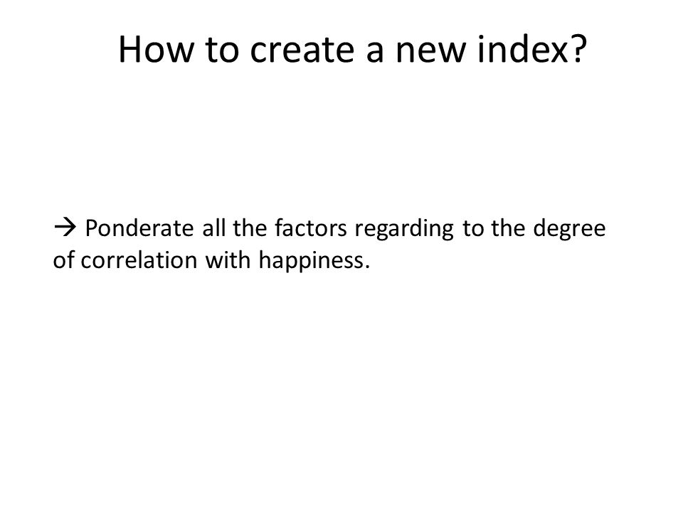 How to create a new index.