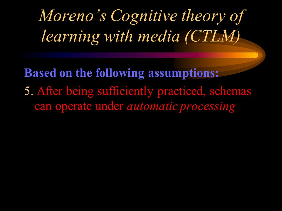 Moreno's Cognitive theory of learning with media (CTLM) Based on the following assumptions: 5.