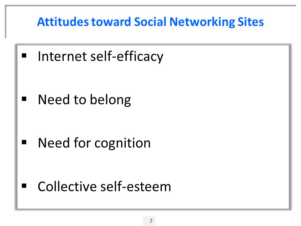 Attitudes toward Social Networking Sites 7  Internet self-efficacy  Need to belong  Need for cognition  Collective self-esteem
