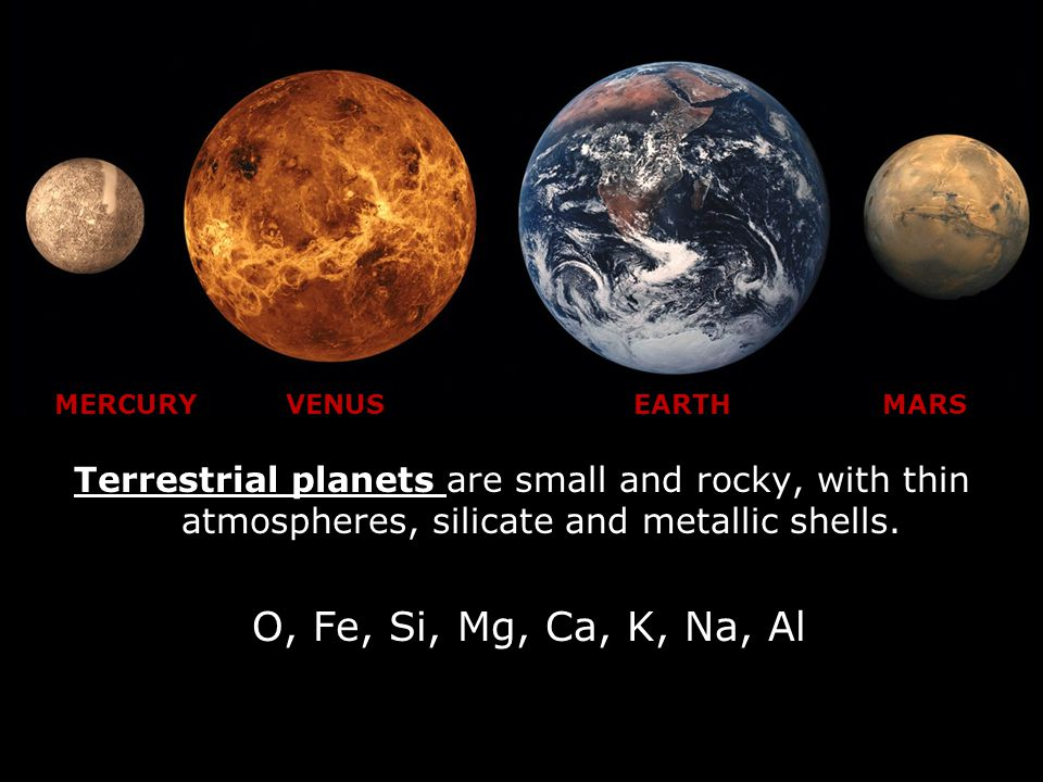 Terrestrial planets are small and rocky, with thin atmospheres, silicate and metallic shells.