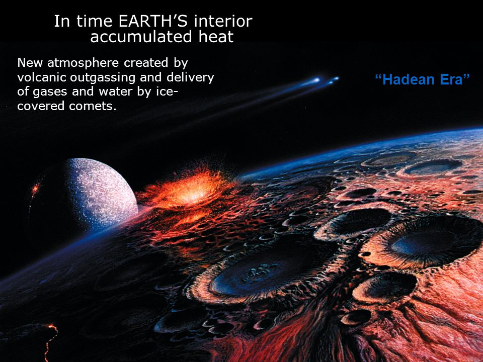 Hadean Era In time EARTH'S interior accumulated heat New atmosphere created by volcanic outgassing and delivery of gases and water by ice- covered comets.