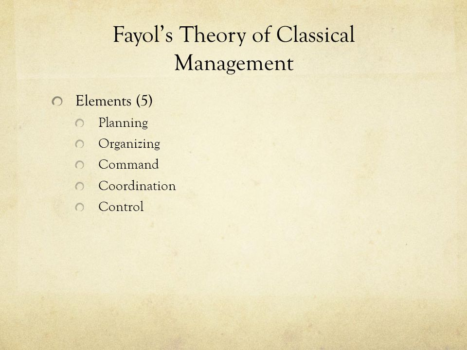 Fayol's Theory of Classical Management Elements (5) Planning Organizing Command Coordination Control
