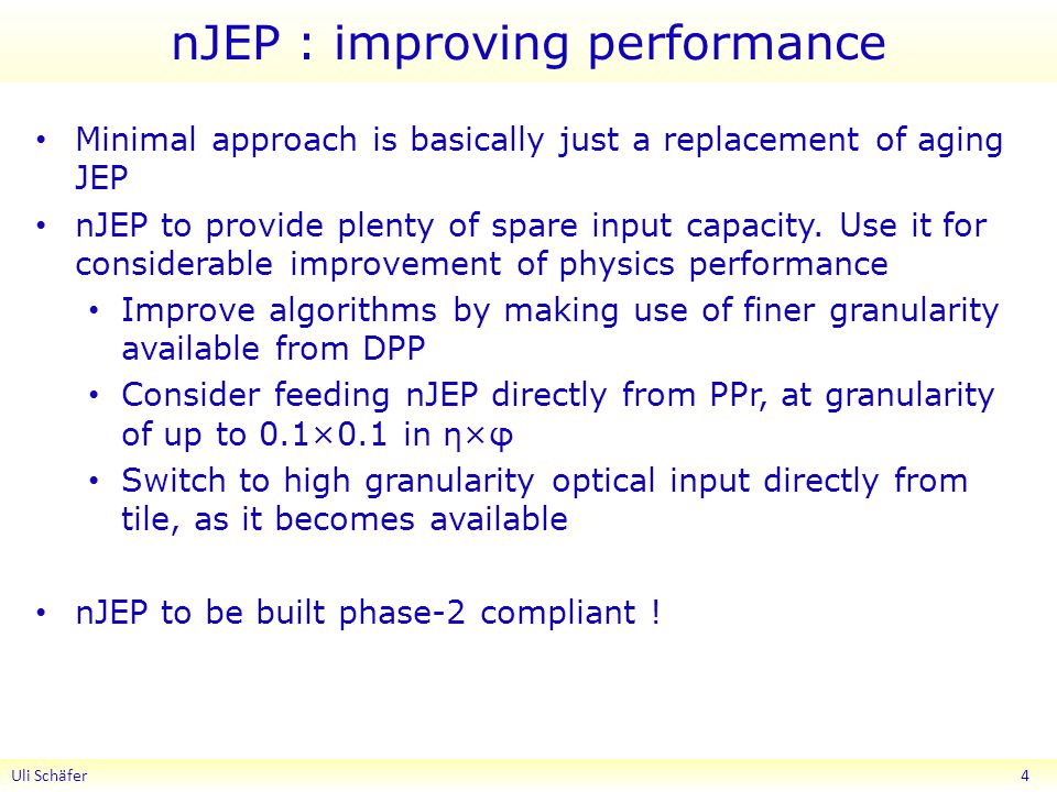 nJEP : improving performance Minimal approach is basically just a replacement of aging JEP nJEP to provide plenty of spare input capacity.