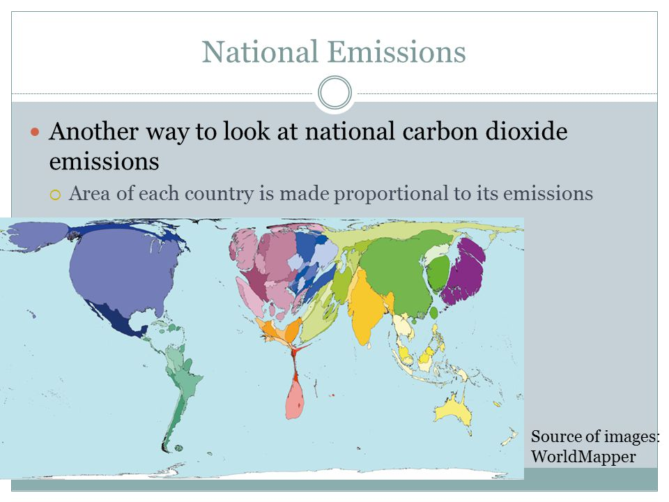 National Emissions Another way to look at national carbon dioxide emissions  Area of each country is made proportional to its emissions Source of images: WorldMapper
