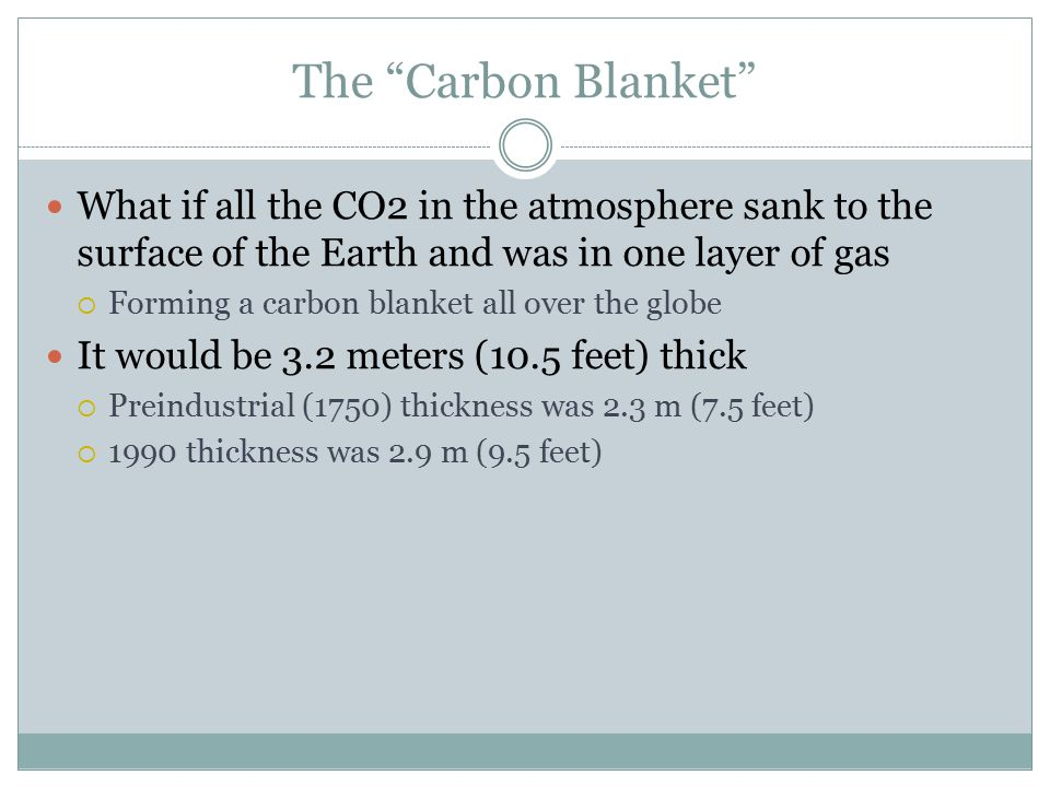 The Carbon Blanket What if all the CO2 in the atmosphere sank to the surface of the Earth and was in one layer of gas  Forming a carbon blanket all over the globe It would be 3.2 meters (10.5 feet) thick  Preindustrial (1750) thickness was 2.3 m (7.5 feet)  1990 thickness was 2.9 m (9.5 feet)