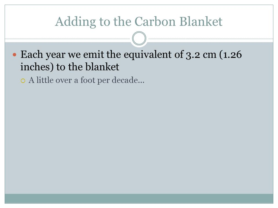Adding to the Carbon Blanket Each year we emit the equivalent of 3.2 cm (1.26 inches) to the blanket  A little over a foot per decade…