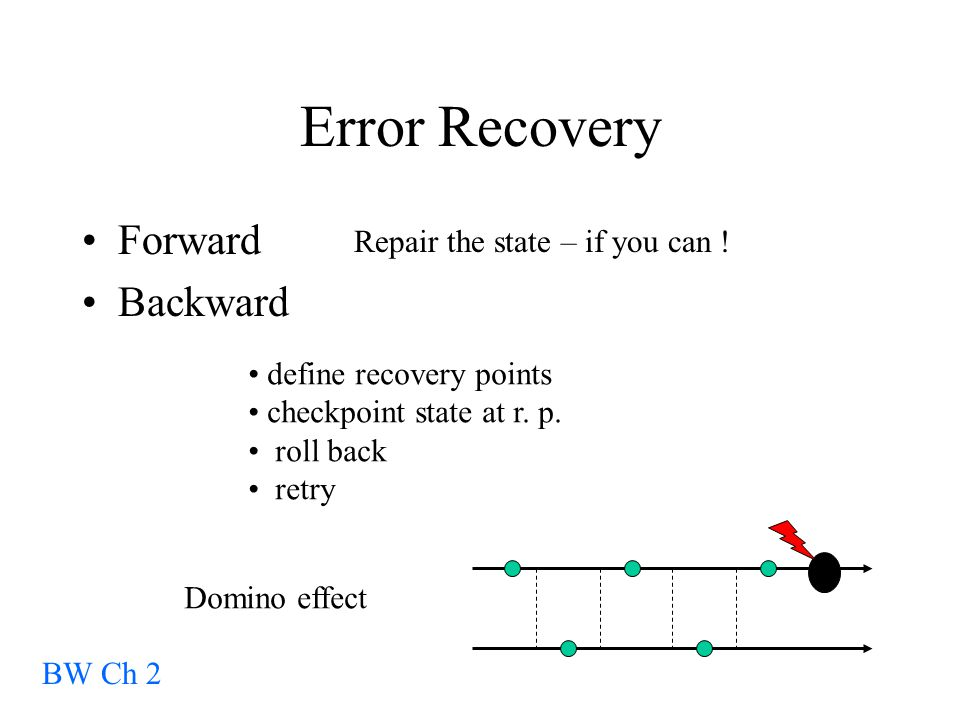 Error Recovery Forward Backward BW Ch 2 Repair the state – if you can .