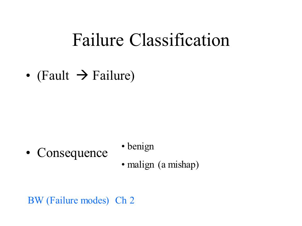 Failure Classification (Fault  Failure) Consequence benign malign (a mishap) BW (Failure modes) Ch 2