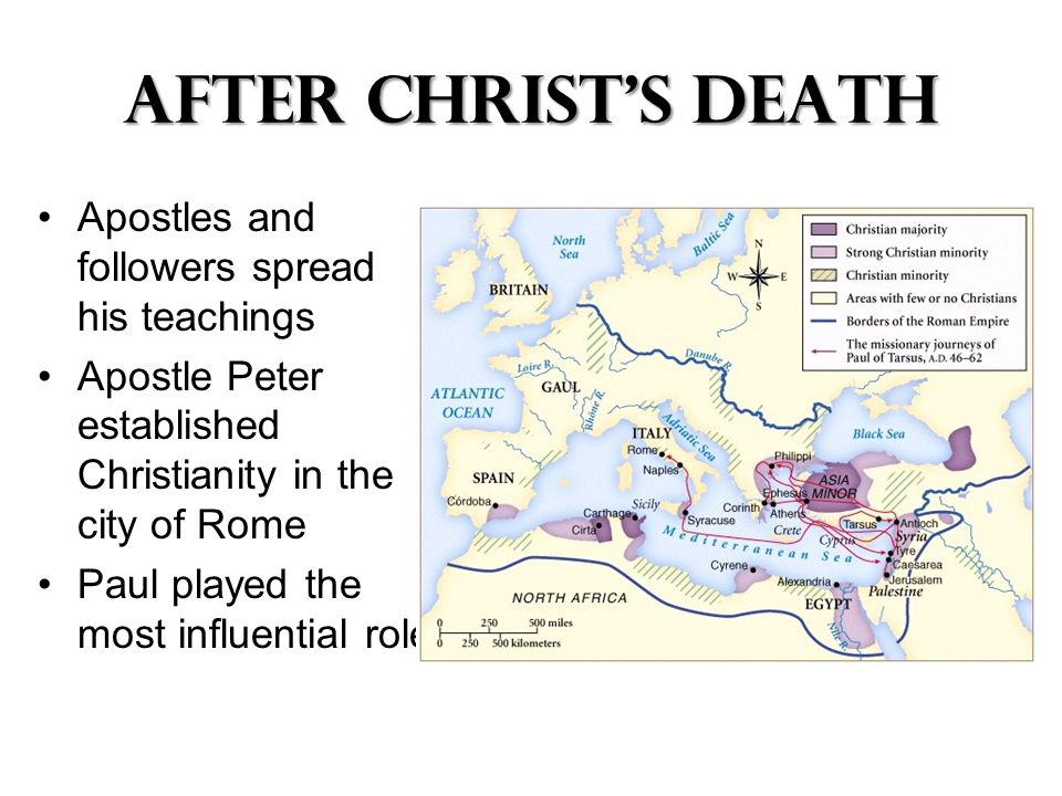 After Christ's Death Apostles and followers spread his teachings Apostle Peter established Christianity in the city of Rome Paul played the most influential role