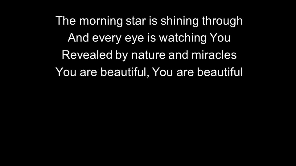 The morning star is shining through And every eye is watching You Revealed by nature and miracles You are beautiful, You are beautiful