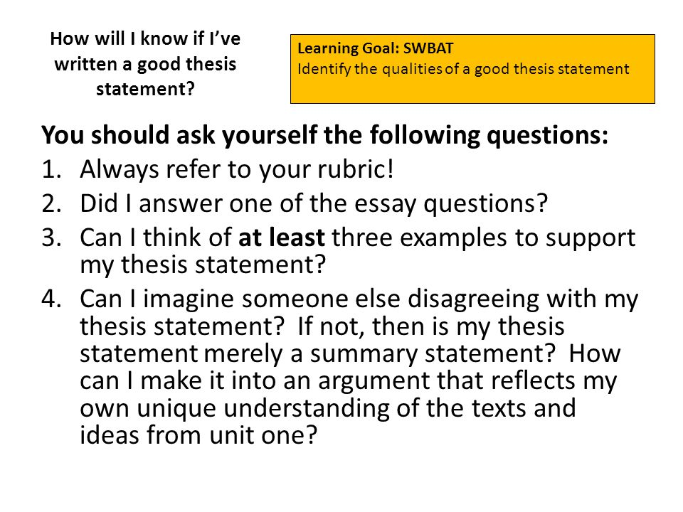 How To Write An Essay With A Thesis