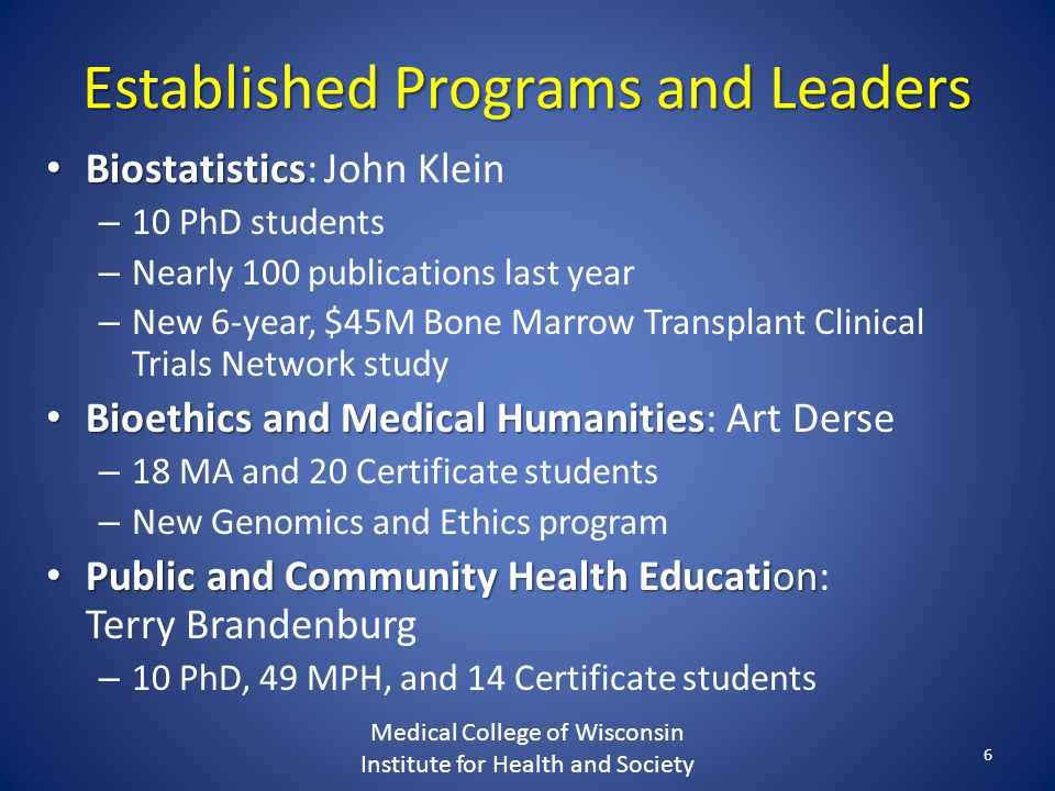 Established Programs and Leaders Biostatistics Biostatistics: John Klein – 10 PhD students – Nearly 100 publications last year – New 6-year, $45M Bone Marrow Transplant Clinical Trials Network study Bioethics and Medical Humanities Bioethics and Medical Humanities: Art Derse – 18 MA and 20 Certificate students – New Genomics and Ethics program Public and Community Health Education Public and Community Health Education: Terry Brandenburg – 10 PhD, 49 MPH, and 14 Certificate students Medical College of Wisconsin Institute for Health and Society 6