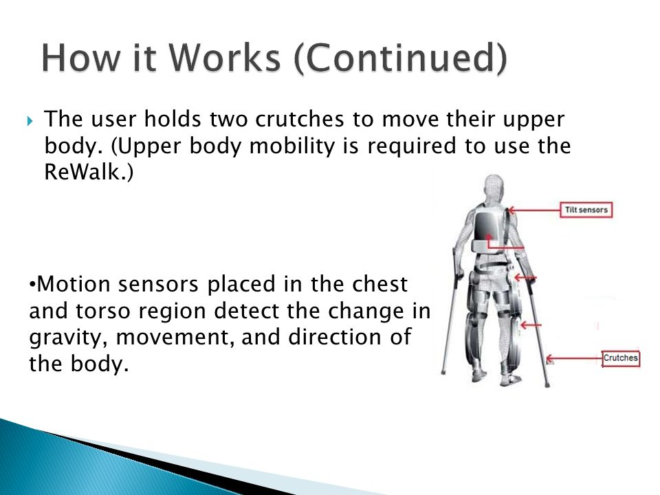 The user holds two crutches to move their upper body.