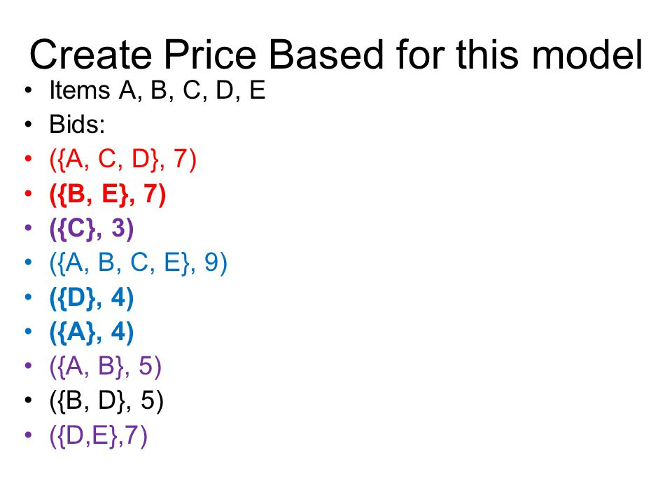 Create Price Based for this model Items A, B, C, D, E Bids: ({A, C, D}, 7) ({B, E}, 7) ({C}, 3) ({A, B, C, E}, 9) ({D}, 4) ({A}, 4) ({A, B}, 5) ({B, D}, 5) ({D,E},7)