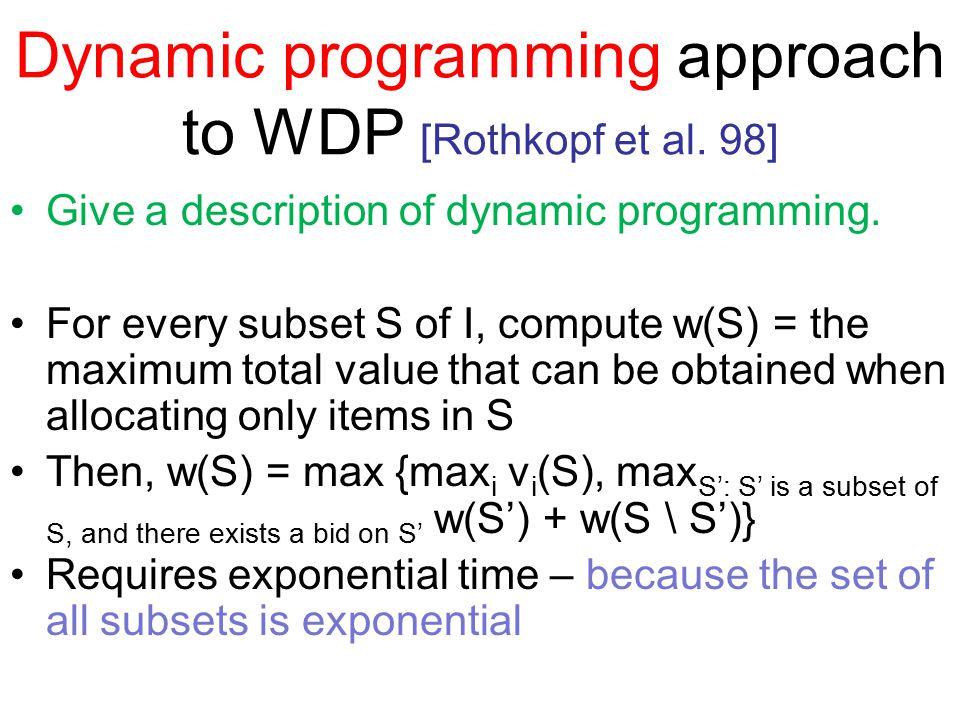Dynamic programming approach to WDP [Rothkopf et al.