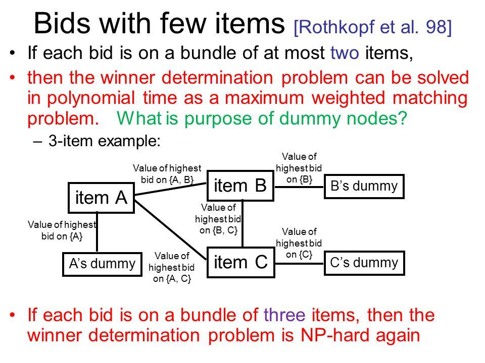 Bids with few items [Rothkopf et al.