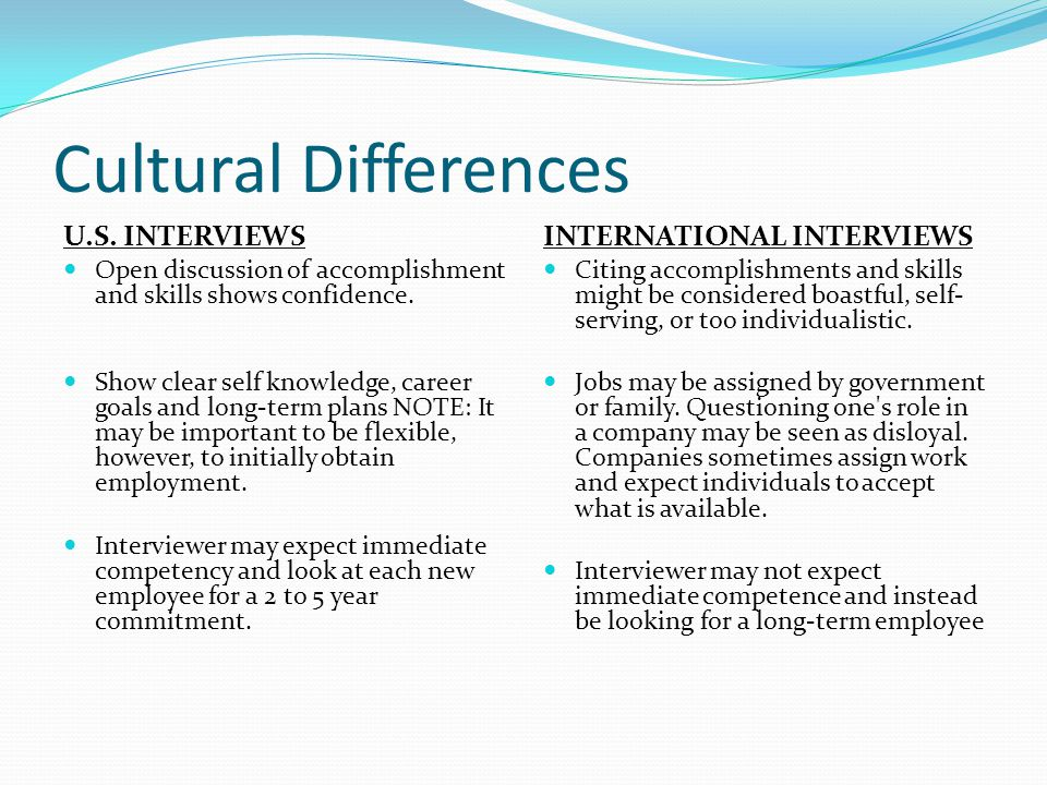 5 cultural differences us interviews - International Job Interviewing What Are The Cultural Differences