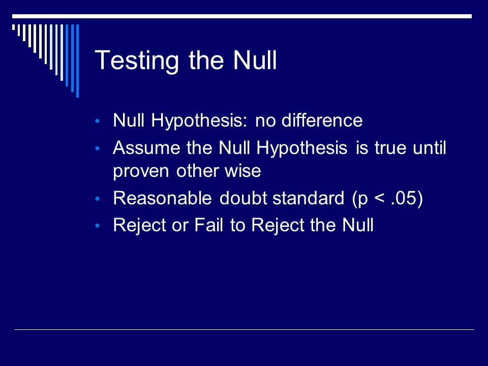Testing the Null Null Hypothesis: no difference Assume the Null Hypothesis is true until proven other wise Reasonable doubt standard (p <.05) Reject or Fail to Reject the Null