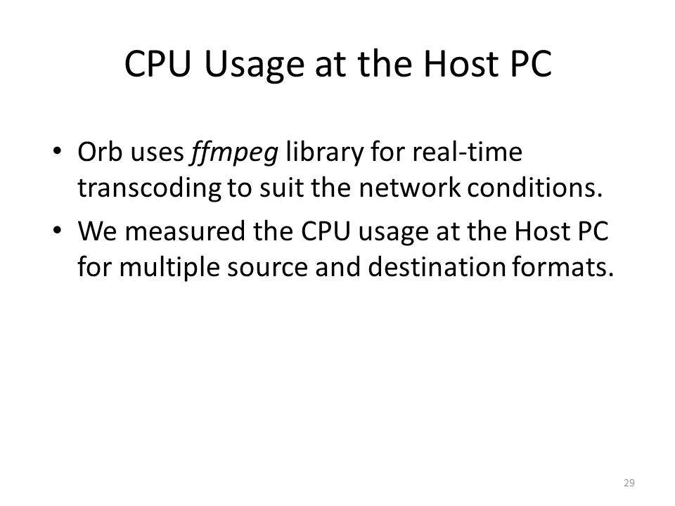 CPU Usage at the Host PC Orb uses ffmpeg library for real-time transcoding to suit the network conditions.